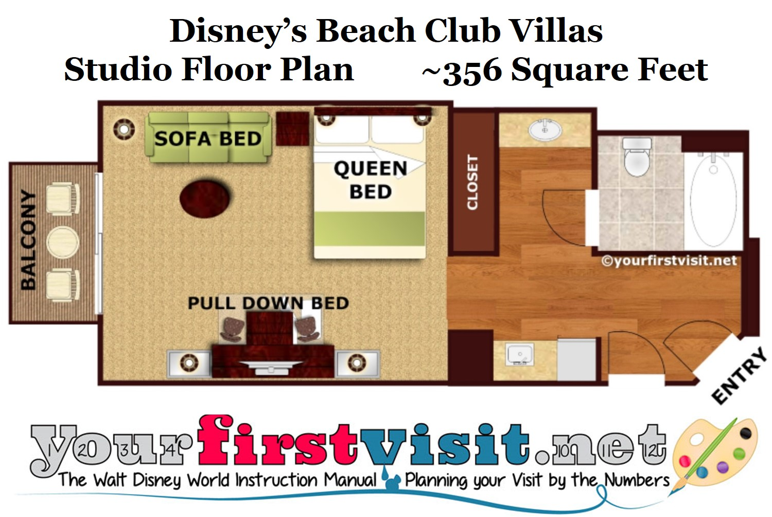 Disneys Beach Club Villas Renovated Studio Floor Plan