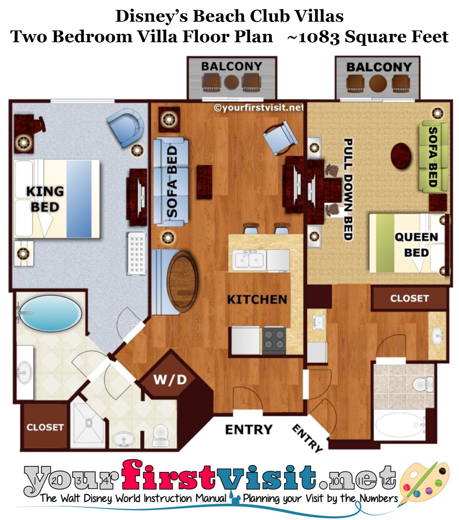 Review disney 39 s beach club villas for Villa floor plans