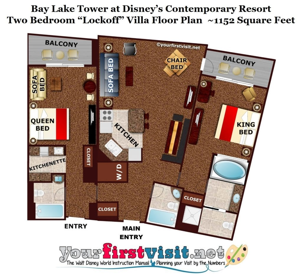 Bay lake tower 2 bedroom villa floor plan www for 2 bedroom villa floor plans