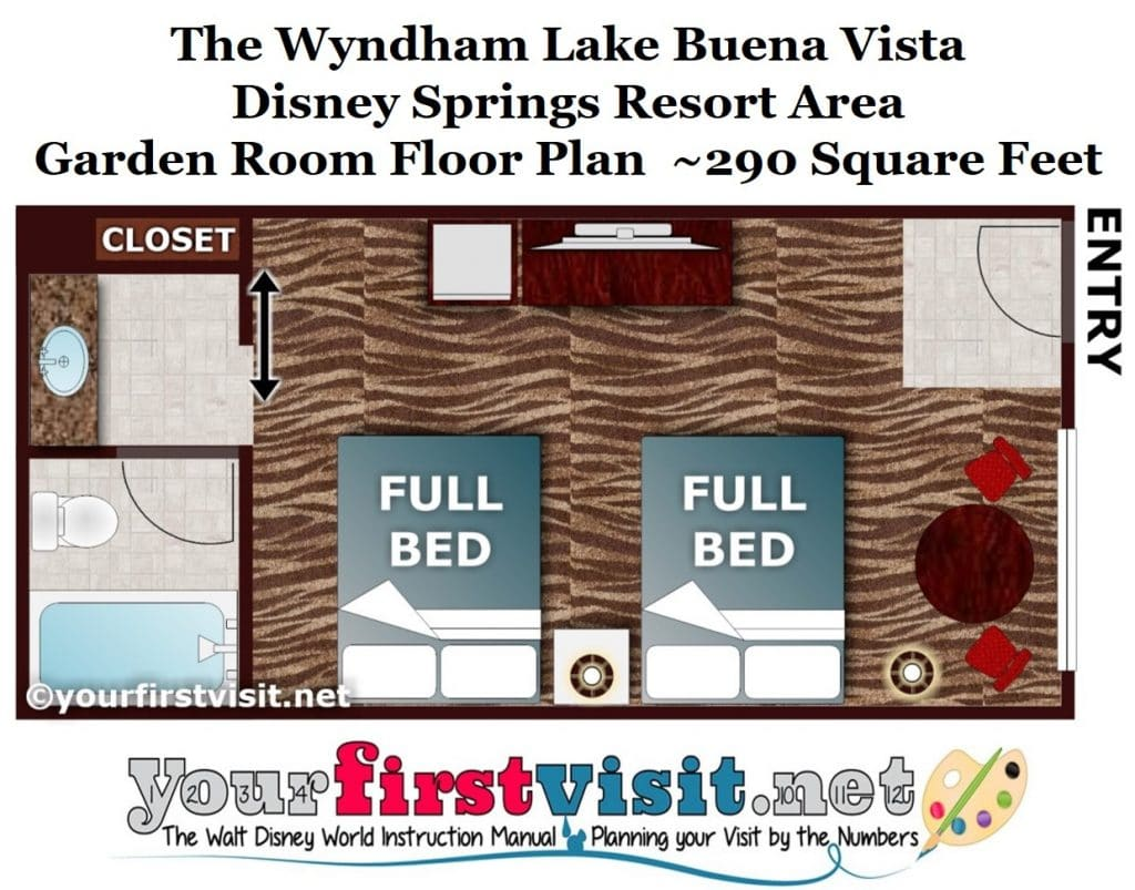 Wyndham Garden rooms are in many ways comparable to Disney's value resort  rooms, with exterior access, no balconies, full beds, and a single sink in  the ...