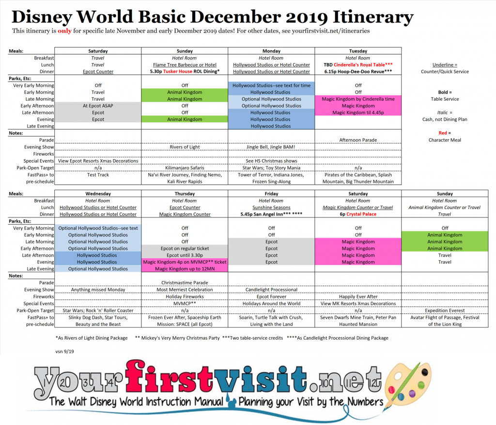 How Many Weeks To Christmas 2019.Basic 2019 December Disney World Itinerary Yourfirstvisit Net